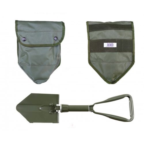 MFH BW összecsukható ásó, 3 részes, olivazöld táskával