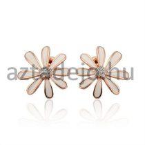 Levél mintájú fülbevaló strasszokkal fehér+rose arany