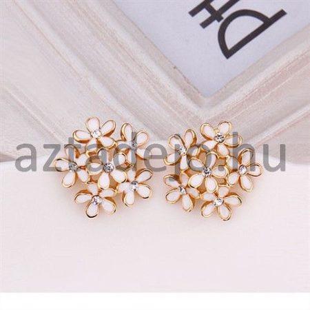 Hatvirágos fülbevaló strasszokkal arany-fehér