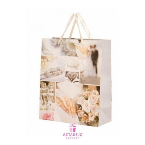 Ajándék táska Esküvői csillogással