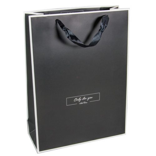 Ajándék tasak fekete, fehér kontúros 26*32cm