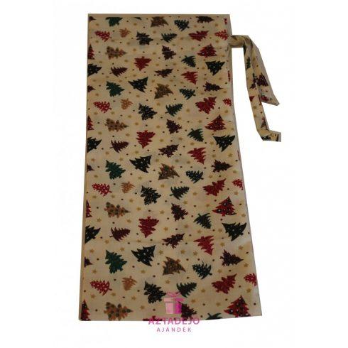 Boros textil ajándékzsák karácsonyi 38x15 cm fehér