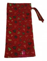 Boros textil ajándékzsák karácsonyi 38x15 cm piros
