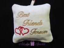 Best Friends Forever plüss csuklópárna 9x9 cm fehér