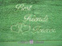 Best Friends Forever törölköző zöld