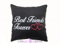 Best Friends Forever vászon csuklópárna 15x15 cm fekete
