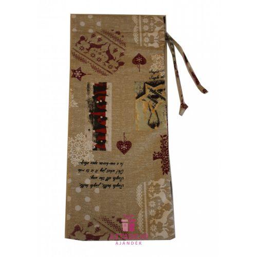Boros textil ajándékzsák karácsonyi 38x15 cm barna