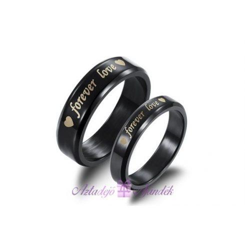 Forever Love gyűrű fekete titán acél ( egy darab)