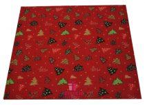 Karácsonyi szalvéta textil 1 db 25x25 cm piros