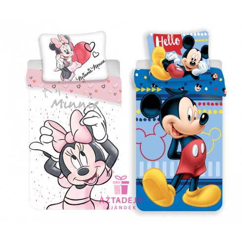 Minnie Mickey páros ágynemű szett fehér-kék+ajándékzacskó