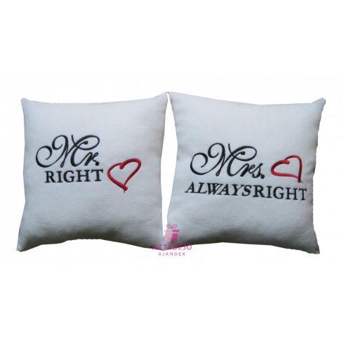 Mr right és Mrs always right plüss párna szett 35x35 cm fehér