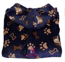 Női nyomott mintás flannel köntös kék+ajándék hajgumi