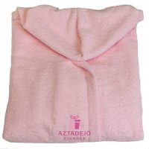 Női frottír köntös rózsaszín+ajándék kéztörlő+ajándék hajgumi
