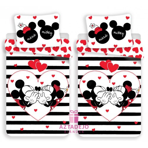 Páros ágynemű szett Minnie Mickey csíkos+ajándék táska