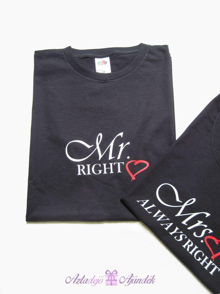 Mr és Mrs póló szett fekete - Aztadejó Ajándék 39c05c31f9