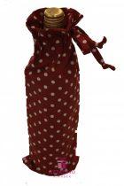 Piros pöttyös ajándékzsák bortartó zsák 13x37 cm