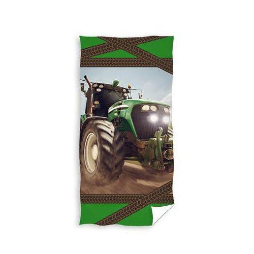 Zöld traktoros törölköző 70x140 cm